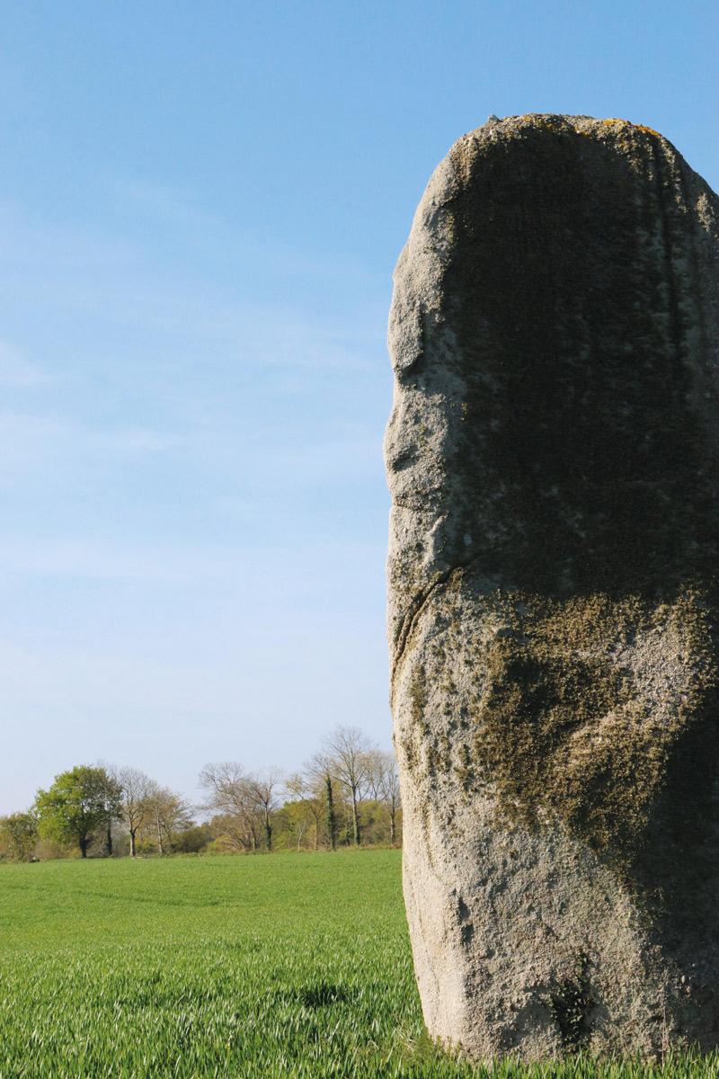 Le menhir de Kerguezhenneg vue de profil et du sentier: ne dirait-on pas, avec un peu d'imagination, qu'un druide ou un sage y a été sculpté?
