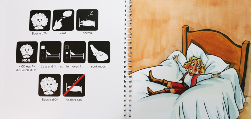 La page de gauche est composée de pictogrammes légendés qui permettent aux lecteurs de décrypter le conte ou l'histoire très courte. Ensuite, la page de droite, «libérée» de son rabat, dévoile une illustration qui favorise la découverte différée du texte et de l'image.